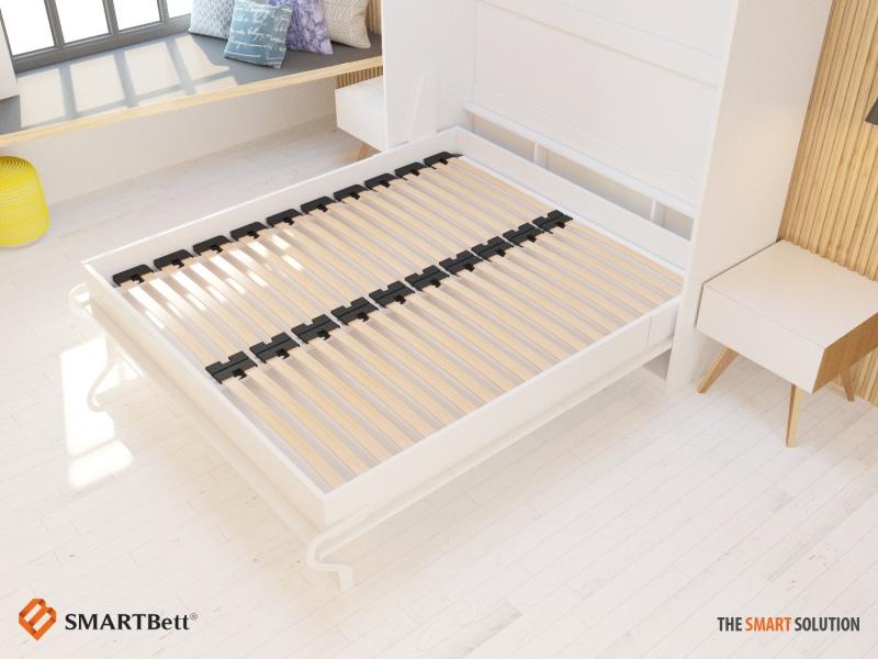 schrankbett 160 cm vertikal weiss komfort lattenrost smartbett. Black Bedroom Furniture Sets. Home Design Ideas