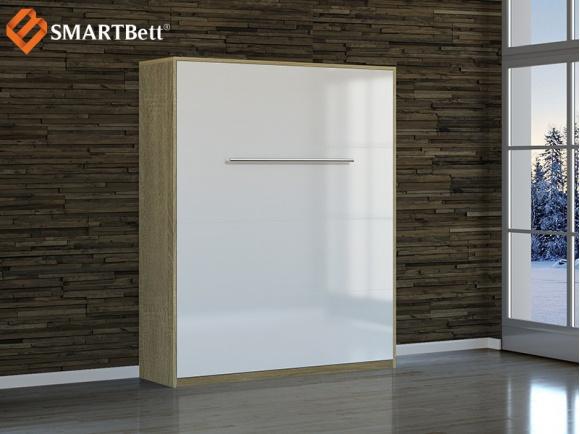 schrankbett smartbett 160x200 eiche sonoma front wei hochgla. Black Bedroom Furniture Sets. Home Design Ideas