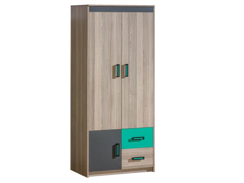 kleiderschrank mit zwei t ren und 2 schubladen esche dunkel gr u. Black Bedroom Furniture Sets. Home Design Ideas
