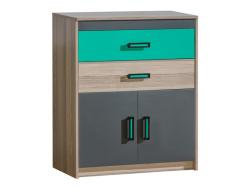 eckregal timo mit einer t r esche dunkel gr n 106 95. Black Bedroom Furniture Sets. Home Design Ideas