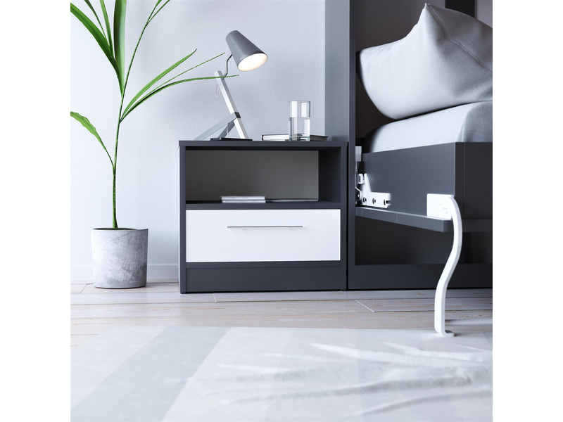smartbett nachttisch mit einer schublade anthrazit grau weiss 91 95. Black Bedroom Furniture Sets. Home Design Ideas