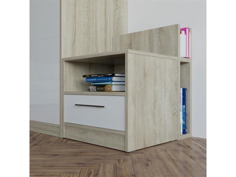 nachttisch eiche sonoma weiss f r das smartbett schrankbett 16. Black Bedroom Furniture Sets. Home Design Ideas