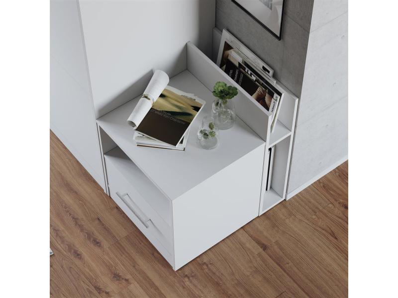 nachttisch weiss weiss hochglanzfront f r das smartbett schrankb. Black Bedroom Furniture Sets. Home Design Ideas