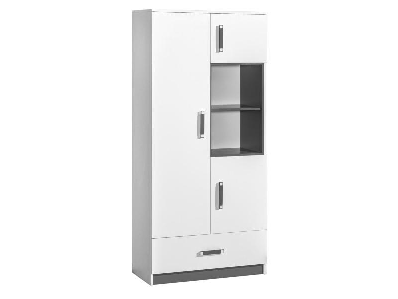Schrank mit 3 Türen und 1 Schublade Weiss/ Grau, 307,95 €