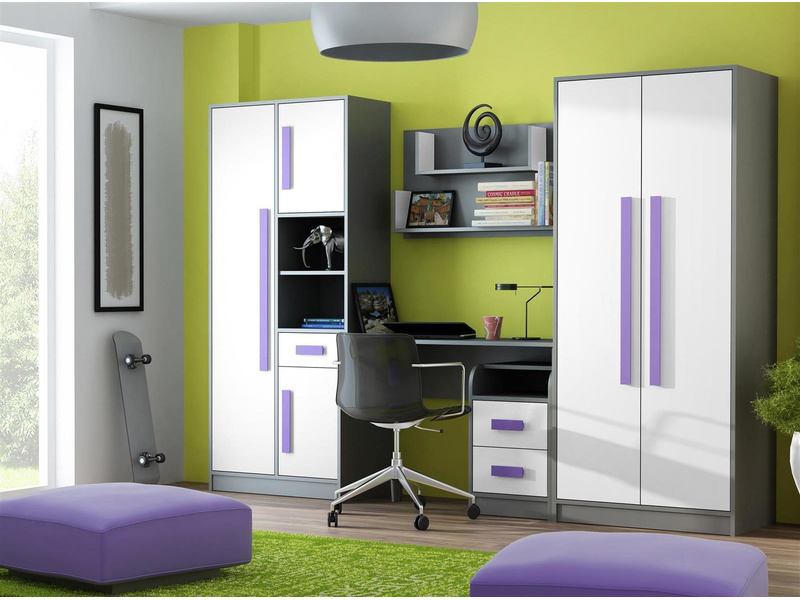 jugendzimmer f r m dchen jungen git 01 5tlg grau we. Black Bedroom Furniture Sets. Home Design Ideas