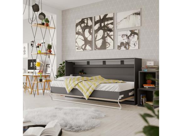 smartbett schrankbett standard 90x200 horizontal anthrazit eiche sono. Black Bedroom Furniture Sets. Home Design Ideas