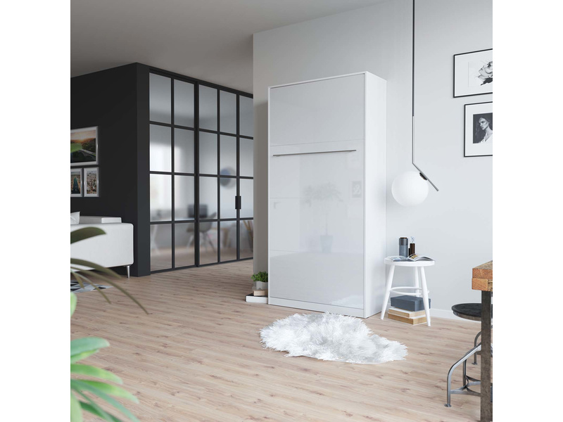 smartbett schrankbett standart 90x200 vertikal weiss weiss hochglanz. Black Bedroom Furniture Sets. Home Design Ideas