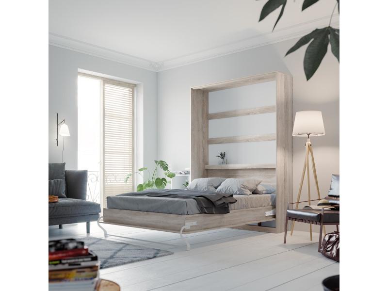 smartbett schrankbett standard 140x200 vertikal eiche sonoma mit gasd. Black Bedroom Furniture Sets. Home Design Ideas