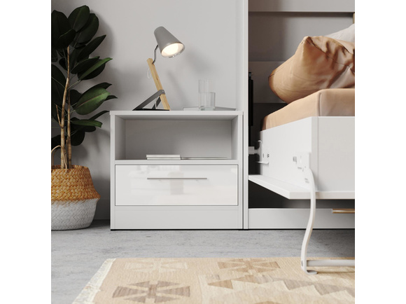 Bedside table basic standard with a drawer whitewhite high gloss f bedside table basic standard with a drawer whitewhite high gloss front watchthetrailerfo