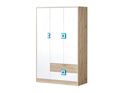 NIKI Wardrobe 3-door with 2 drawers White / Oak / Turquoise