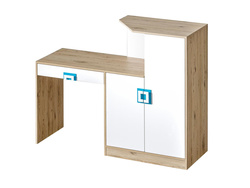 NIKI desk with 2 door and 1 drawer white / oak / turquoise
