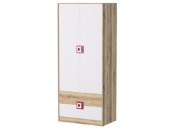 NIKI Wardrobe 2 doors 2 drawers White / Oak / Turquoise