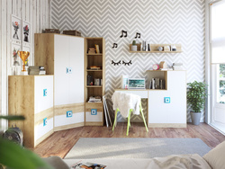 NIKI childrens room youth room 02 (5-piece)White / Oak /...