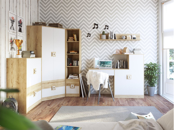 NIKI childrens room youth room 02 (5-piece)White / Oak / White