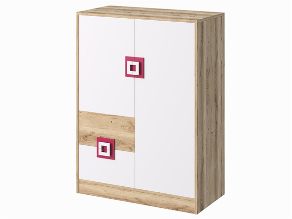 NIKI Highboard Dresser Cupboard 2-door with 2 drawers White / Oak / Turquoise