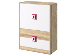 NIKI dresser cupboard 2-door with 2 drawers white / oak /...