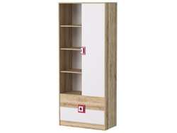 NIKI Shelf / Wardrobe with 2 drawers White / Oak / Turquoise