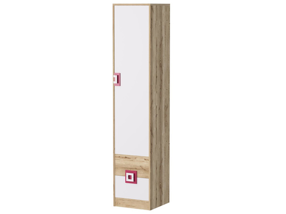 NIKI cupboard wardrobe with 3 shelves and 2 drawers white / oak / pink