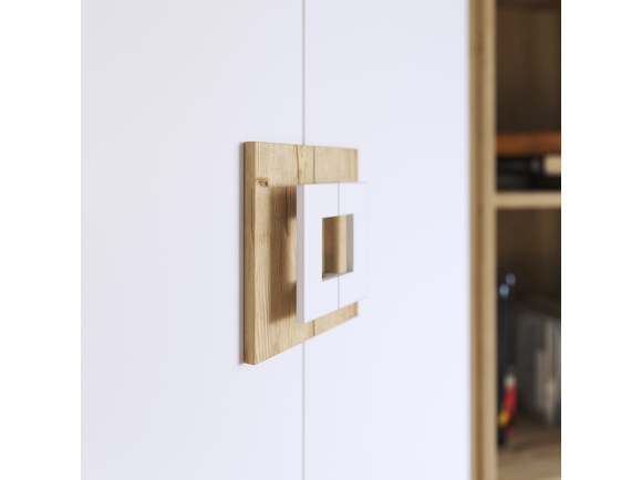 NIKI Schreibtisch- Highboard mit 2 Türen und 1 Schublade Weiß/Eiche ...