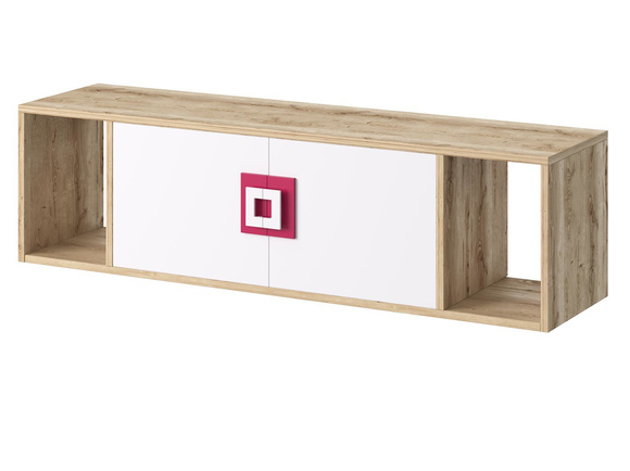 NIKI wall shelf hanging shelf with 2 doors white / oak / pink