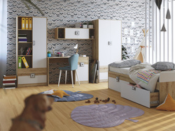 NIKI childrens room youth room 03 (5-piece)White / Oak /...