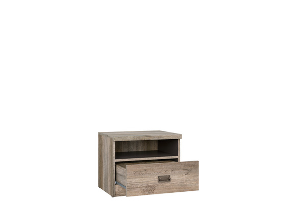 Malkolm bedside table with 1 drawer Oak Canyon with writing / tungsten