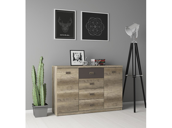 Malkolm Sideboard Dresser 130cm Oak Canyon with writing / tungsten