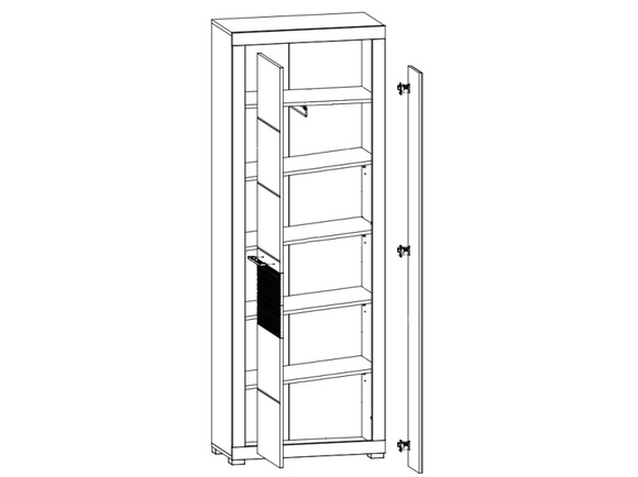 Wardrobe  with 2 doors FLAMES  White/White high gloss