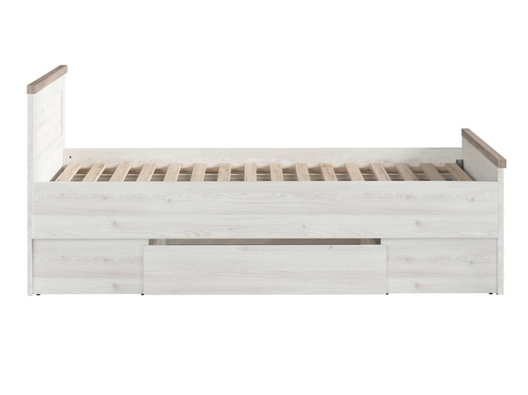 LUKKA bed 90cm with rolling grate and bed box in larch light / dark oak