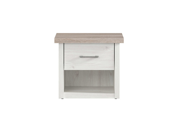 Lukka bedside table, larch light / oak dark
