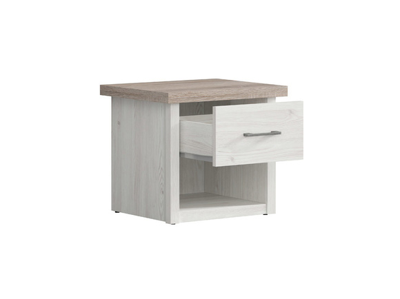 LUKKA bedside table with 1 drawer in larch light / dark oak