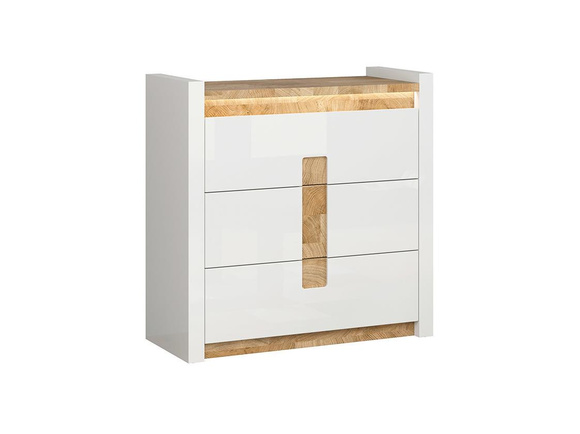 Alamena Chest of drawers LED white/ oak Westminster imitation / white gloss