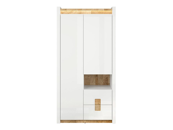 Alamena Wardrobe in white / oak Westminster / white gloss with LED