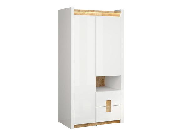 Alamena wardrobe with LED - 2 doors 2 drawers - white gloss/ oak Westminster