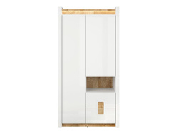 Alamena Wardrobe in white / oak Westminster / white gloss...