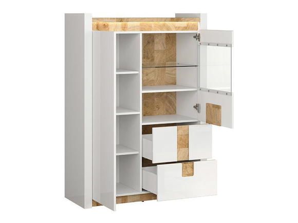 Alamena showcase cabinet with LED  white gloss / oak Westminster