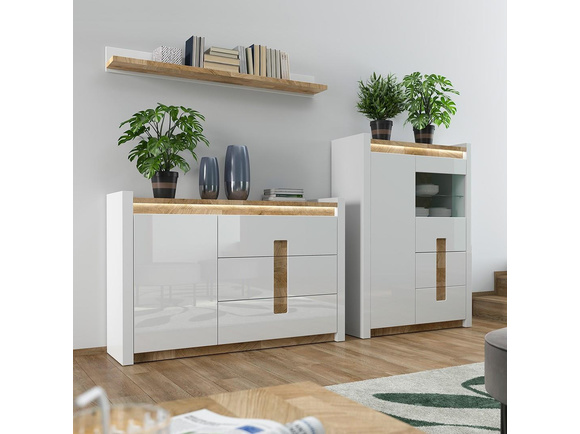 Alamena 03 Wardrobe set 3-tlg. in white / oak Westminster / white gloss with LED