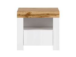 HOLSTEN bedside cabinet in white / oak / white gloss