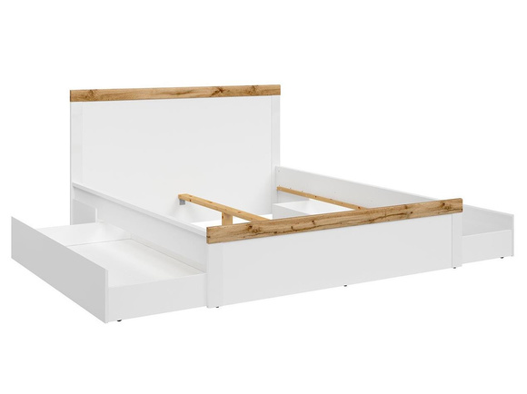 HOLSTEN bed double bed 160x200cm in white / white gloss/ oak Wotan