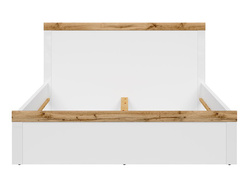HOLSTEN double bed 160cm in white / white gloss / oak Wotan