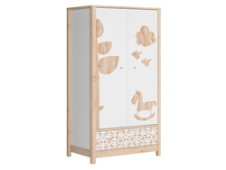 TIMOH Wardrobe with 2 Doors, 1 Drawer in White / Beech /...