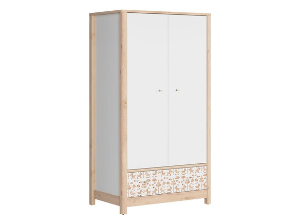 TIMOH Wardrobe with 2 doors, 2 drawers in white / beech / pony decor / white