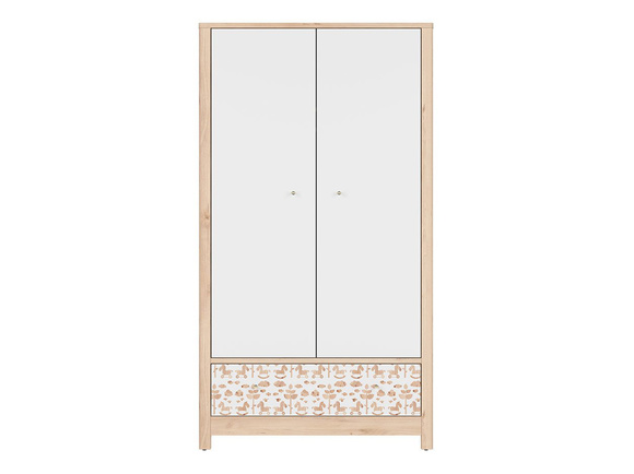 TIMOH closet wardrobe with 2 doors, 1 drawer in white / beech / pony decor