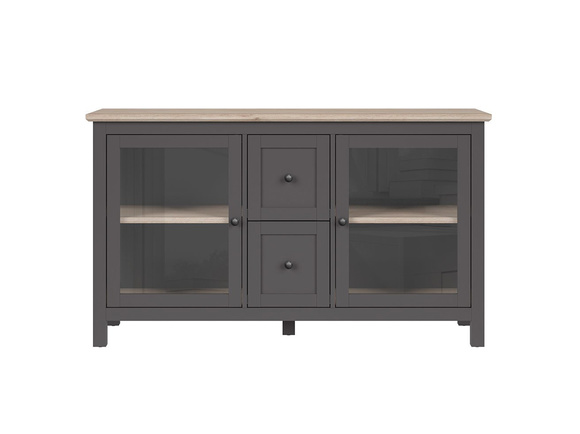 BOCAGE showcase chest of drawers 2 doors in graphite / oak San Remo