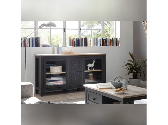 BOCAGE showcase chest of drawers 2 doors 2 drawers in graphite / oak San Remo