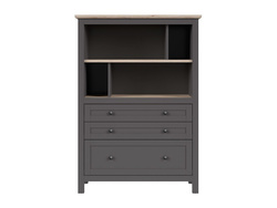 BOCAGE bookshelf shelf cabinet with 3 drawers in graphite...