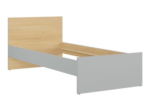NANDI cot bed single bed 90x200cm in light gray / oak / white high gloss