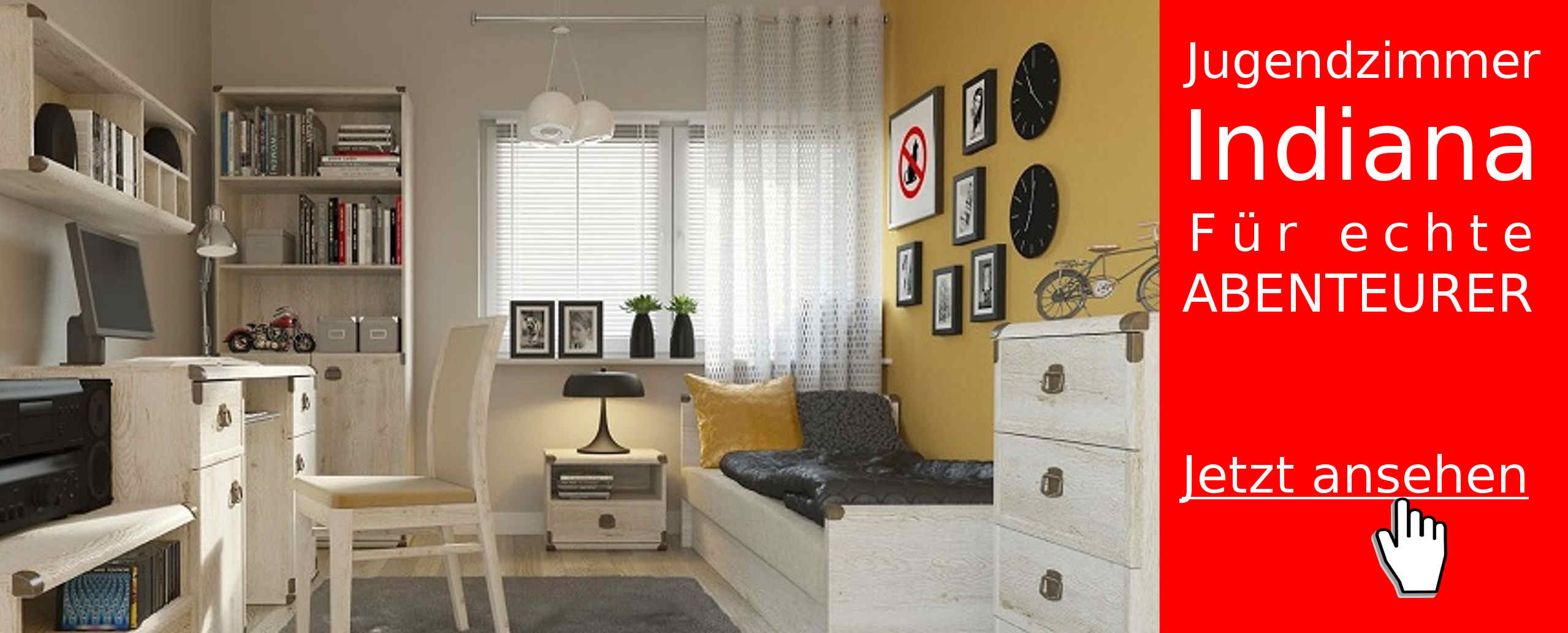 jugendzimmer indiana. Black Bedroom Furniture Sets. Home Design Ideas